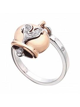 Chantecler anello Campanelle in oro rosa e bianco, diamanti e gallo in pavè di diamanti