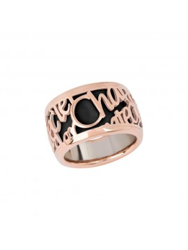Chantecler Pour Parler high band Ring set in Rose Gold with Black Enamel