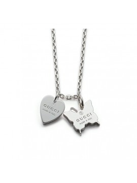 GUCCI NECKLACE WITH GUCCI TRADEMARK ENGRAVED HEART AND BUTTERFLY-TRADEMARK