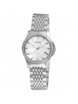 GUCCI SMALL CASE AND BEZEL WITH DIAMOND AND WHITE MOTHER OF PEARL DIAL- G-TIMELESS