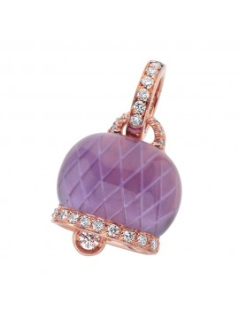 Chantecler Bell Charm set in Rose Gold with Diamonds and Amethyst