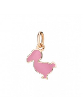 Dodo Junior Small Charm in Rose Gold and Pink Enamel