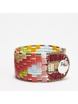 Ziio Pixel Onda Sun Brass Bracelet with Semi-Precious Stones