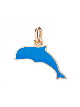 Dodo Dolphin Big Charm in Rose Gold and Blue Enamel