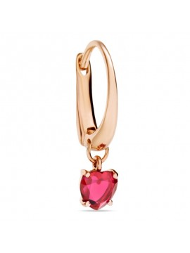 Dodo 100% Amore Single Earring set in Rose Gold with dangling heart-shaped synthetic ruby.