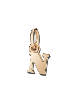 Dodo Small Letter N Charm in Rose Gold