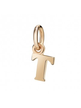 Dodo Big Letter T Charm in Rose Gold