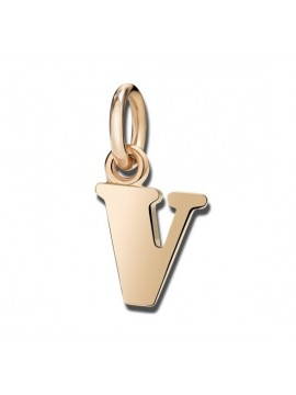 Dodo Big Letter V Charm in Rose Gold