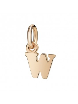 Dodo Big Letter W Charm in Rose Gold
