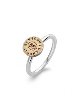 TI SENTO MILANO STERLING SILVER AND ROSE RING WITH LOGO