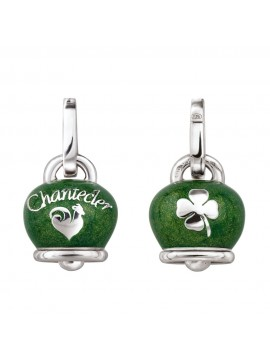 Chantecler Et Voilà Double Face Bell Charm in Silver and Green Pearl Enamel