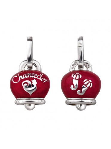 Chantecler Et Voilà Double Face Bell Charm in Silver and Red Pearl Enamel