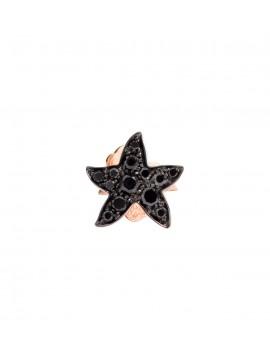 Dodo Starfish Single Earring in Rose Gold with Black Pavè Diamond