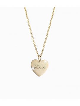 Collana in oro giallo, cuore con leBebé inciso