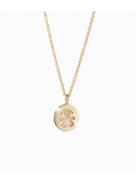 Collana in oro giallo con pepita femminuccia incisa