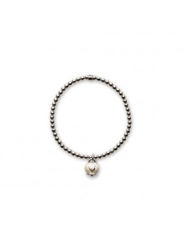 CHANTECLER Et voilà Bracciale elastico in argento con campanella micro in argento e smalto bianco, biglierina fissa