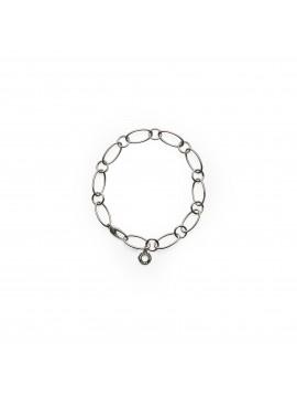 Bracciale maglie ovali e tonde in argento cm 20