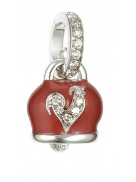 Chantecler ciondolo Campanella oro bianco smalto rosso e diamanti
