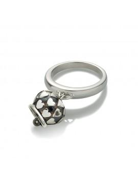 CHANTECLER Anello campanella con cuori micro in argento e rodiatura nera