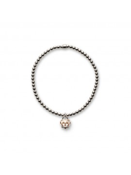 CHANTECLER Bracciale elastico campanella con cuori micro in argento e rodiatura rosa