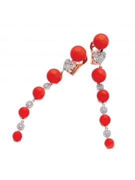 CHANTECLER Bon Bon Orecchini in oro bianco, corallo rosso e diamanti