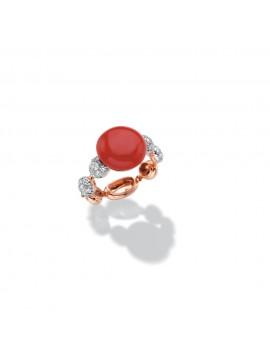 CHANTECLER Bon Bon Anello in oro bianco/rosa, corallo rosso e diamanti