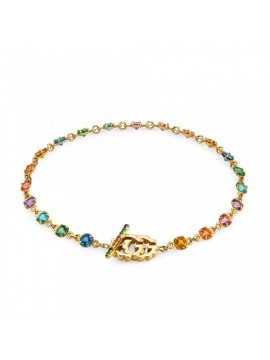 GUCCI GG RUNNING BRACELET IN YELLOW GOLD AND TOPAZI AND MULTICOLOR QUARTZ