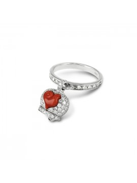 CHANTECLER BELL RING IN WHITE GOLD AND DIAMONDS ROOSTER IN RED CORAL