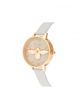 OLIVIA BURTON WOMAN WATCH CELESTIAL IN GOLDEN STEEL WITH 3D BEE AND LEATHER STRAP