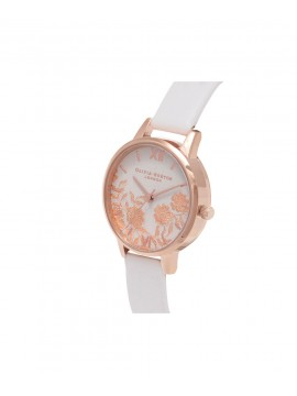 OLIVIA BURTON LACE DETAIL WOMEN'S WATCH IN ROSE STEEL AND BLUSH LEATHER STRAP