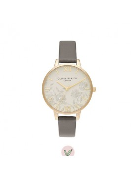 OLIVIA BURTON LACE DETAIL WOMAN WATCH IN GOLDEN STEEL AND GRAY VEGAN STRAP