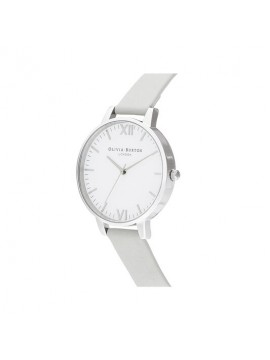 OLIVIA BURTON TIMELESS WOMAN WATCH IN SILVER STEEL AND GRAY LEATHER STRAP