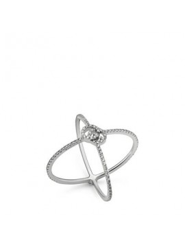 GUCCI GG RUNNING RING IN X SHAPE IN WHITE GOLD AND DIAMONDS