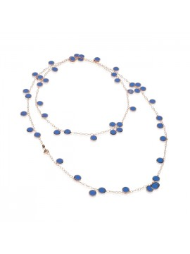 CHANTECLER PAILLETTES NECKLACE IN PINK GOLD AND BLUE CAPRI ENAMEL
