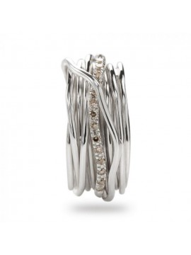 RUBINIA FILODELLAVITA CLASSIC RING 7 WIRES IN SILVER AND DIAMONDS BROWN