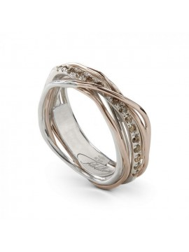 RUBINIA CLASSIC 7-THREAD FILODELLAVITA RING IN ROSE GOLD SILVER AND BROWN DIAMONDS