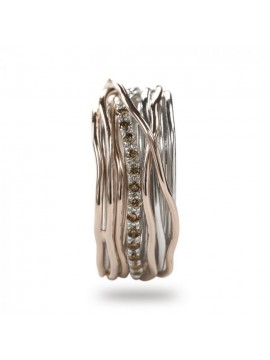 RUBINIA CLASSIC 13 WIRE FILODELLAVITE RING IN ROSE GOLD SILVER AND BROWN DIAMONDS
