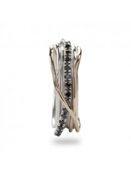 RUBINIA CLASSIC 7-THREAD FILODELLAVITA RING IN ROSE GOLD SILVER AND DIAMONDS BLACK