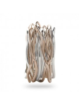 RUBINIA CLASSIC 13 WIRE FILODELLAVITE RING IN PINK AND SILVER GOLD