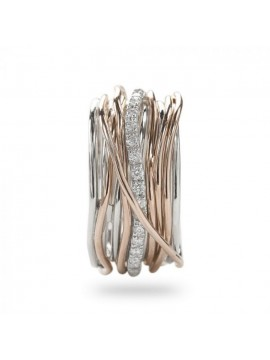 RUBINIA CLASSIC 13 WIRE FILODELLAVITA RING IN ROSE GOLD SILVER AND WHITE DIAMONDS