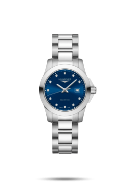 LONGINES WATCH ONLY TIME WOMAN CONQUEST STEEL QUANDRANT BLUE DIAMONDS BRACELET