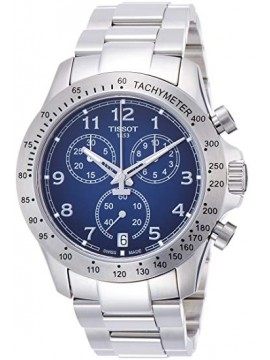 TISSOT WATCH CHRONOGRAPH V8 QUARTZ STEEL DIAL BLUE