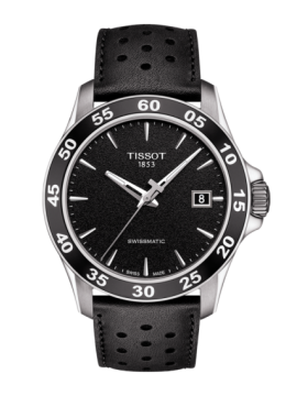 TISSOT CLOCK ONLY TIME V8 SWISSMATIC STEEL STRAP LEATHER BLACK
