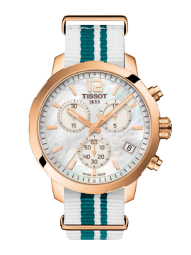 TISSOT CHRONOGRAPH WATCH QUICKSTER GOLD STEEL WHITE AND BLUE NATO BAND