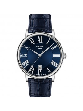TISSOT WATCH ONLY TIME CARSON PREMIUM STEEL STRAP LEATHER BLUE