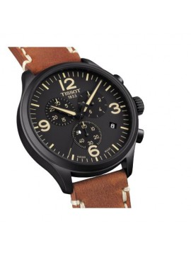 TISSOT CHRONO XL PVD WATCH BLACK BROWN LEATHER STRAP