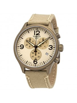 TISSOT WATCH ONLY TIME CHRONO XL IN PVD STEEL BEIGE STRAP