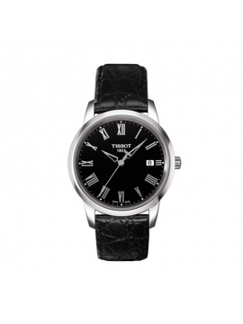 TISSOT TIME-ONLY CLASSIC DREAM STEEL WATCH BLACK LEATHER STRAP