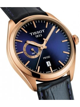TISSOT PR 100 CHRONO DUAL TIME QUARTZ WATCH AND BLUE STRAP