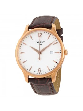 TISSOT QUARTZ TRADITION WATCH AND BROWN LEATHER STRAP